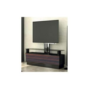 Modern TV Table With Glass - Black