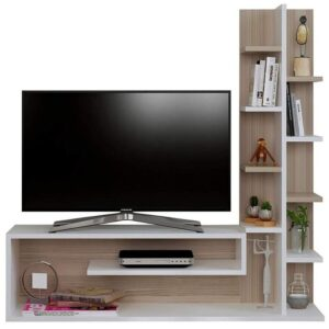 Modern TV Table With Book Case- White