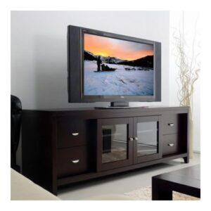 Modern TV Table With 4 Drawers And 2 Doors -  Black