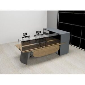 Modern Office Desk With Side And Glassy Counter-Grey