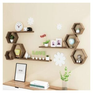 Wall Wood Shelve - 6 Stand-Brown
