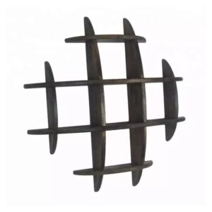 Wall Wood Shelves Square Stand-Black